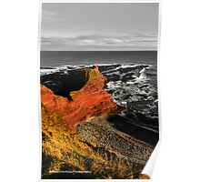 Red cliffs, grey day Poster