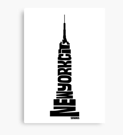 New York City: Empire State Building Black Canvas Print