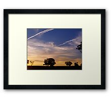 Contrails into the Sunset Framed Print