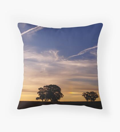 Contrails into the Sunset Throw Pillow