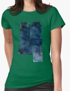 Blue Abstract Painting Womens Fitted T-Shirt