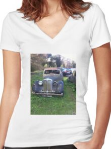 Old American car Women's Fitted V-Neck T-Shirt