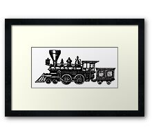 Steam Locomotive black and white pen ink drawing Framed Print