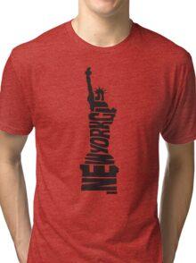 New York City: Statue of Liberty Black Tri-blend T-Shirt