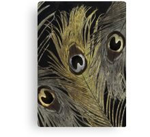 Silver and Gold Peacock Feathers Canvas Print