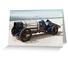 Sunbeam 'Blue Bird' on Pendine Sands Greeting Card