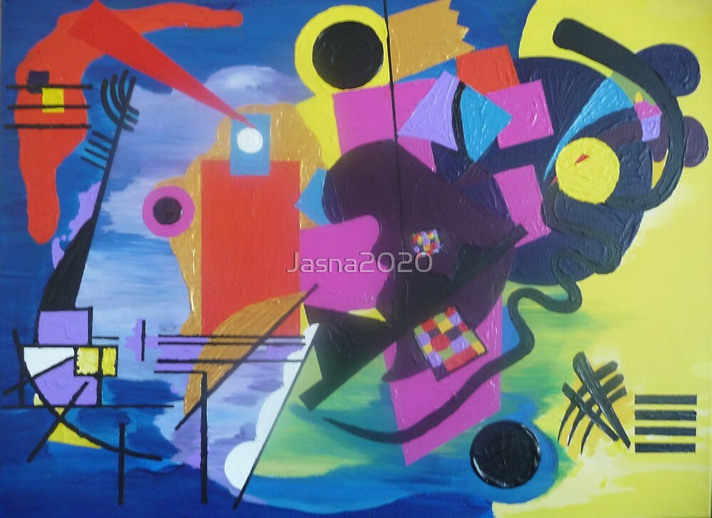 Kandinsky's Yellow Red Blue. Original abstract painting, Acrylic on canvas, 18 x 24 in. by Jasna2020