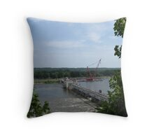 Illinois River Lock and Dam Throw Pillow
