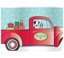 Santa's Helpers Red Truck Poster