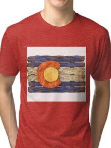 Colorado Wood Flag Tri-blend T-Shirt