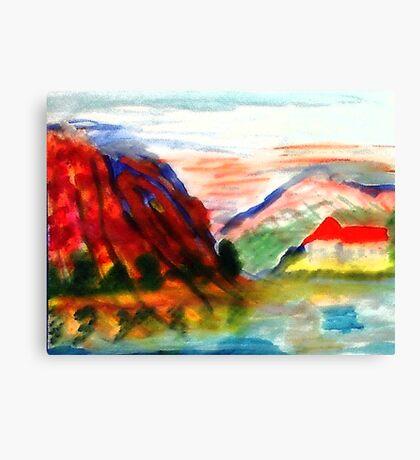 Mountain scene , watercolor Canvas Print