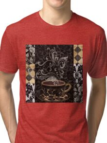 Cafe Noir I Coffee Damask Tri-blend T-Shirt