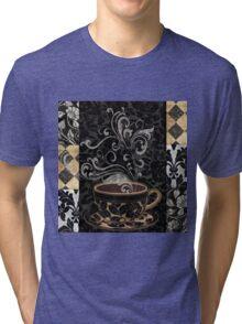 Cafe Noir I Coffee Damask Tri-blend T-Shirt