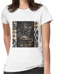 Cafe Noir I Coffee Damask Womens Fitted T-Shirt