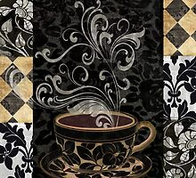 Cafe Noir I Coffee Damask by mindydidit