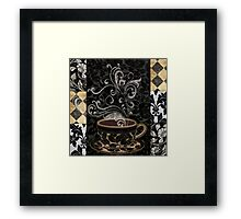 Cafe Noir I Coffee Damask Framed Print