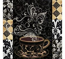 Cafe Noir I Coffee Damask Photographic Print