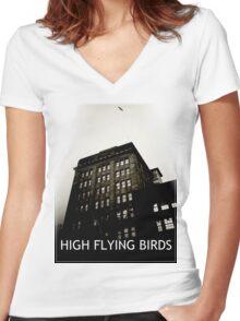 High Flying Birds Women's Fitted V-Neck T-Shirt