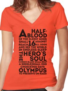Percy Jackson and the Olympians - The Great Prophecy  Women's Fitted V-Neck T-Shirt