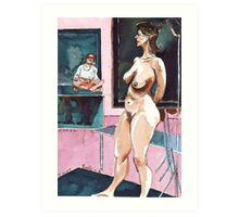 Joelle the Standing Nude among Artists Art Print