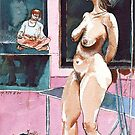 Joelle the Standing Nude among Artists by ivDAnu