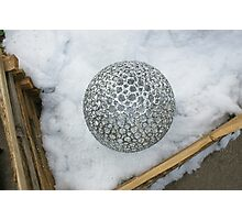 Christmas-Chrome Ball in a Corral Photographic Print