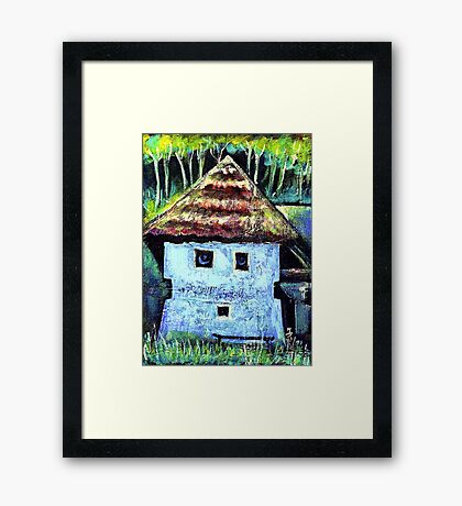 The Old House with a Face Framed Print