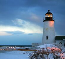 Pemaquid Point Lighthouse in the snow by Jeremy D'Entremont