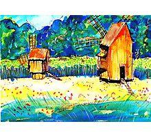 Windmills from Transylvania Photographic Print