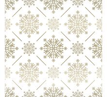 Gold Tones Abstract SnowFlakes Pattern Photographic Print