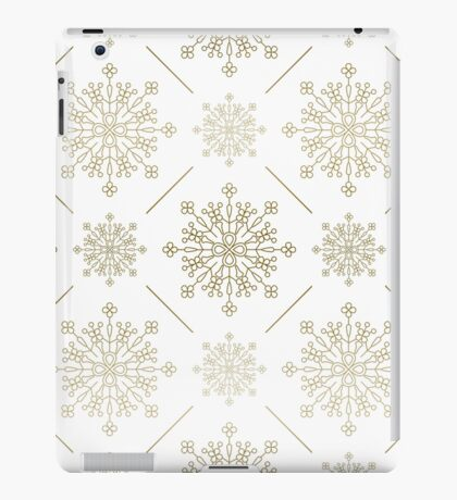 Gold Tones Abstract SnowFlakes Pattern iPad Case/Skin