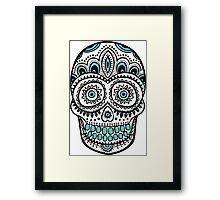 Black And Blue Accents Sugar Skull Framed Print