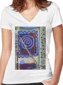 The Spiral Pane T-Shirt Women's Fitted V-Neck T-Shirt