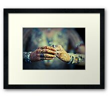 Brides hands Framed Print