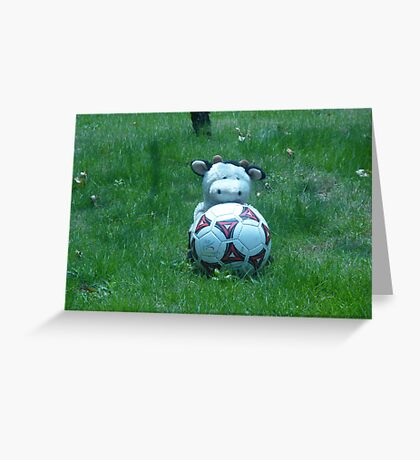 Moo Moo playing soccer Greeting Card