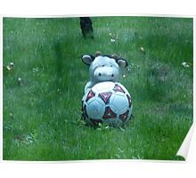 Moo Moo playing soccer Poster