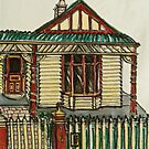Bijou style house, Melbourne. © Pen and wash on fabric. by Elizabeth Moore Golding