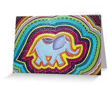 Elephant Dreams Original Painting ~ Rainbow Blossom Greeting Card