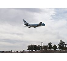 92-9000 Air Force One Over Palm Trees Photographic Print
