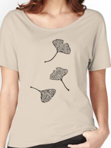 Ginkgo Vector Black on Warm Grey Women's Relaxed Fit T-Shirt