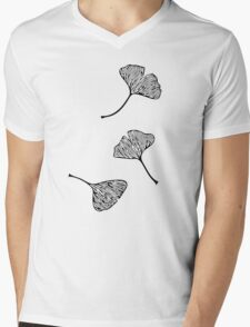 Ginkgo Vector Black on Warm Grey Mens V-Neck T-Shirt