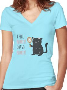 Catty Thoughts! Women's Fitted V-Neck T-Shirt