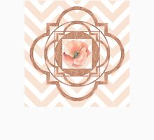 Persian Poppy, Rose Gold Quatrefoil, chevron T-Shirt