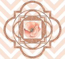 Persian Poppy, Rose Gold Quatrefoil, chevron by Glimmersmith
