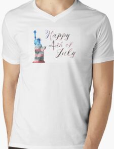 statue of liberty bokeh 4th of July Mens V-Neck T-Shirt