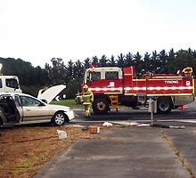 Tynong Firebrigade attend accident. by Bev Pascoe
