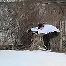 Backyard Snowboarding  by Linda Costello Hinchey