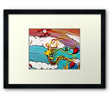 Whimseussical Flying Fish Painting Happy Skies Joyful Clouds Framed Print
