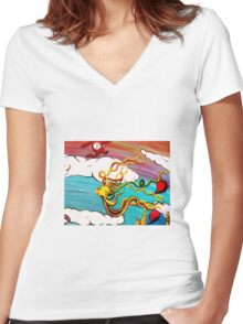 Whimseussical Flying Fish Painting Happy Skies Joyful Clouds Women's Fitted V-Neck T-Shirt