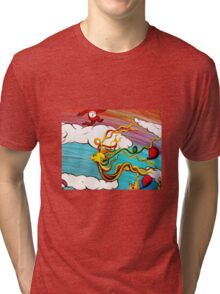 Whimseussical Flying Fish Painting Happy Skies Joyful Clouds Tri-blend T-Shirt
